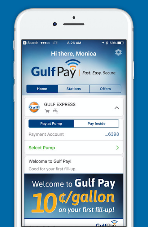 Gulf Pay users can pay for fuel at the pump and in-store